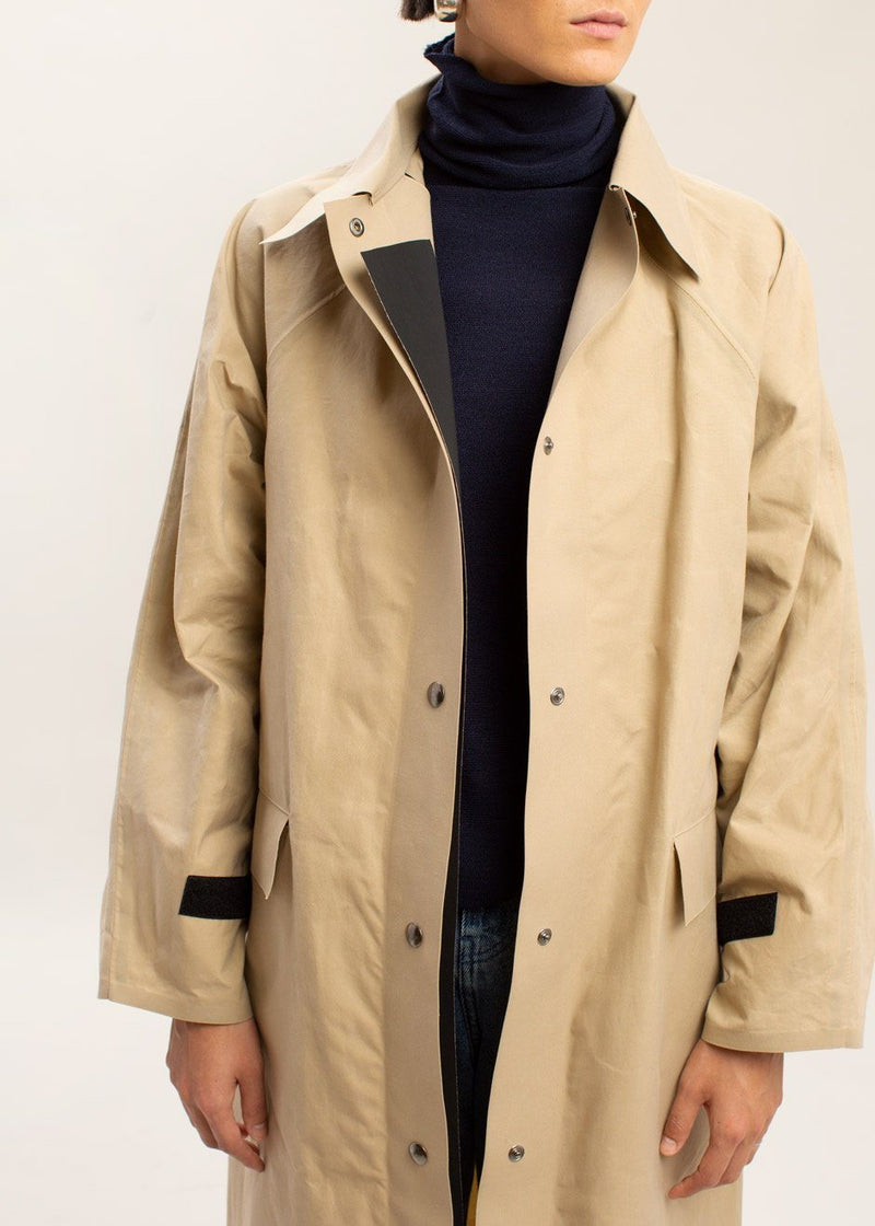 Waxed Long Trench Coat by KASSL Editions in Matte Beige Coat KASSL Editions