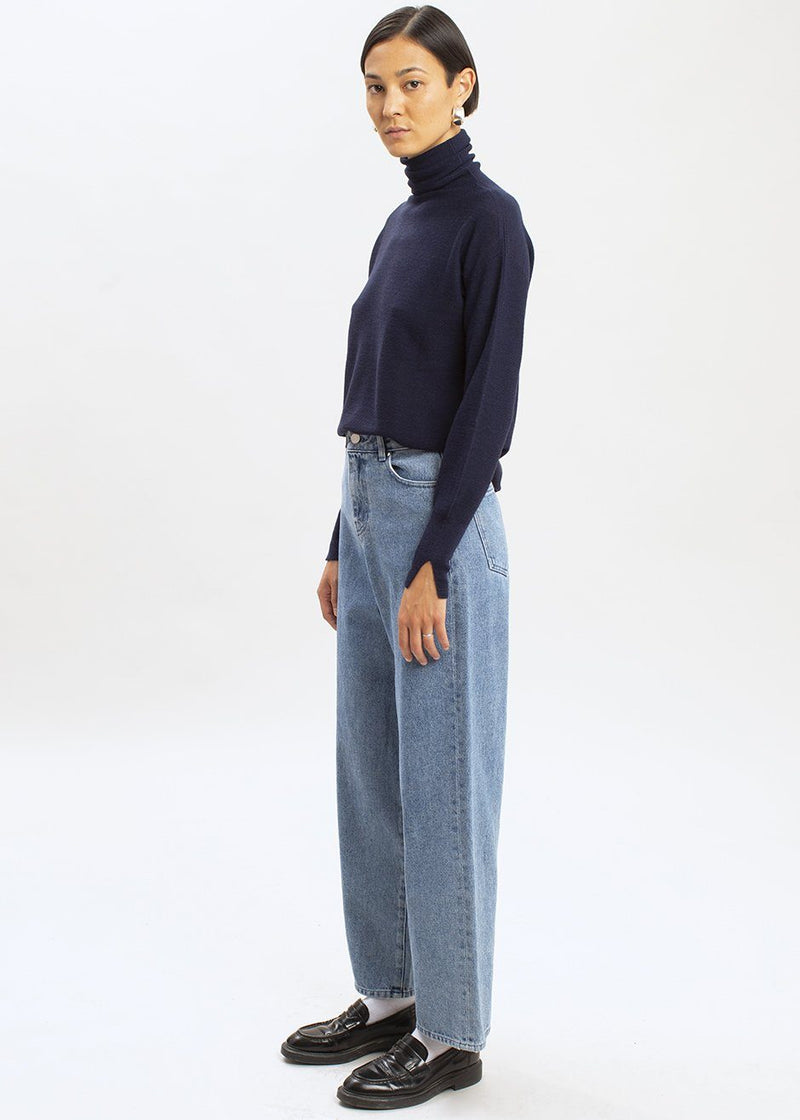 Wide Fit Denim Pants by Amomento in Deep Blue Jeans Amomento