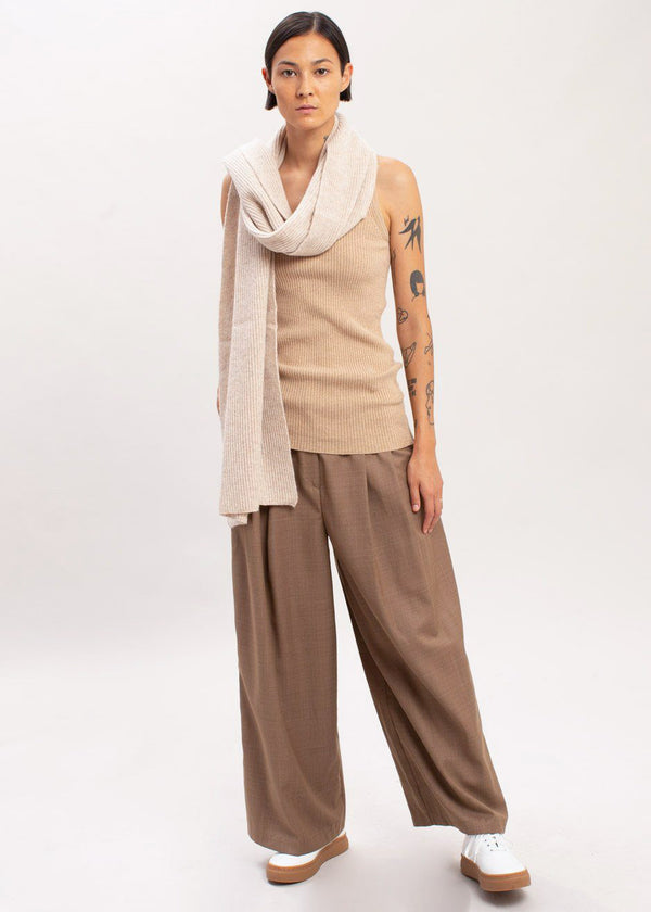 Wide Leg Pleat Front Pants in Tobacco