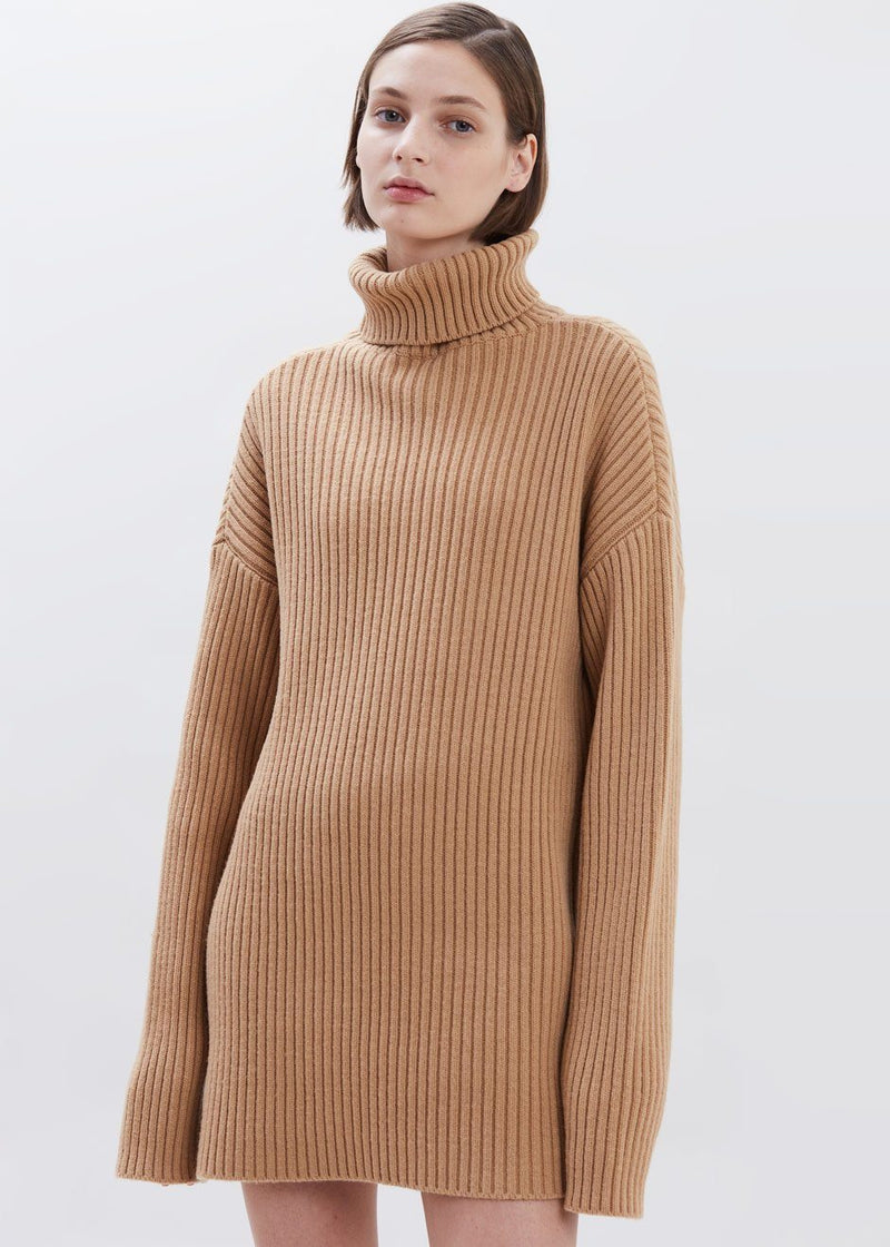 Wide Rib Roll Neck Sweater in Toast Sweater Paper Moon