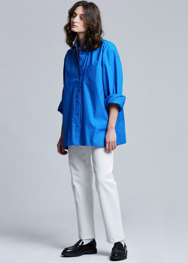 Wide Sleeve Split Hem Cotton Shirt in Turkish Blue Shirt The Frankie Shop