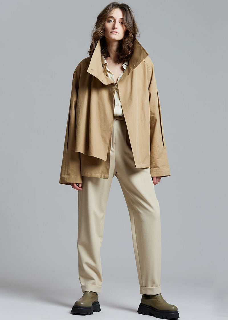 Wing Collar Cropped Trench Jacket in Chai Jacket eyeful