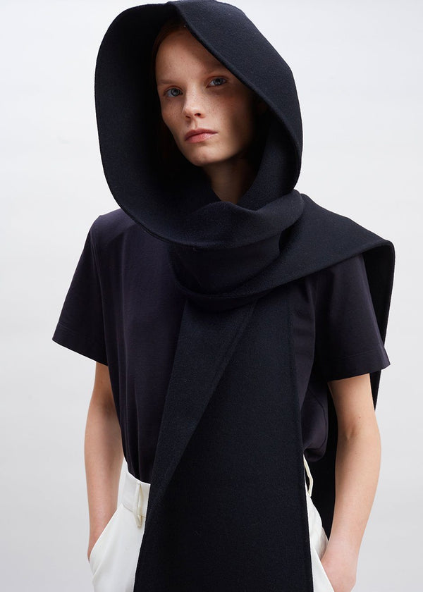 Wool Felt Hood Scarf in Black Scarf The Frankie Shop