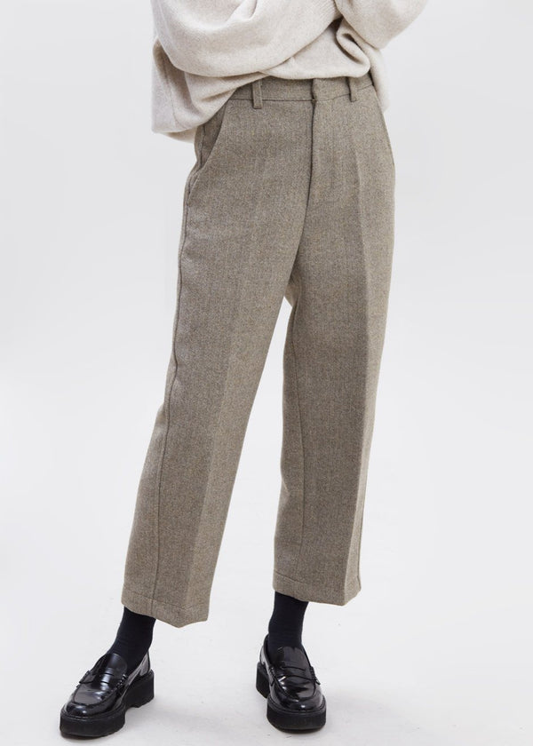 Woolen Herringbone Tapered Pants in Taupe Melange Pants Understanding