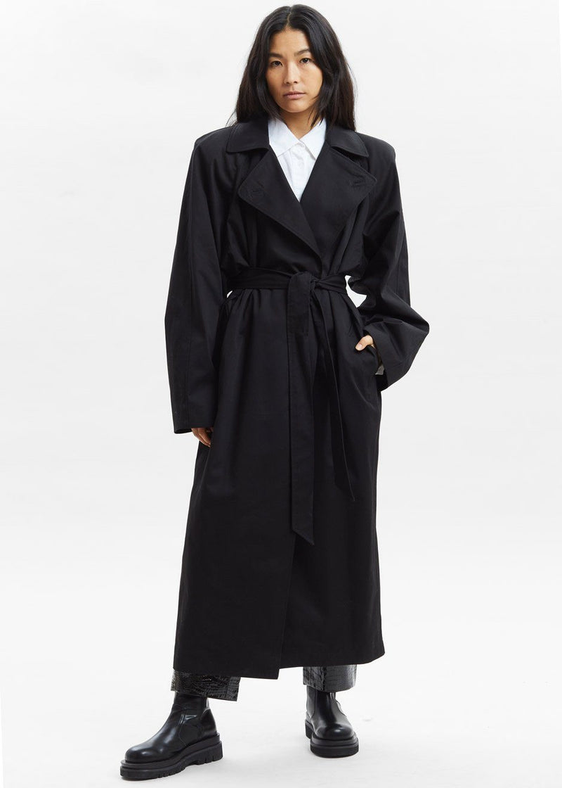 Woven Box Shoulder Trench in Black Coat Paper Moon