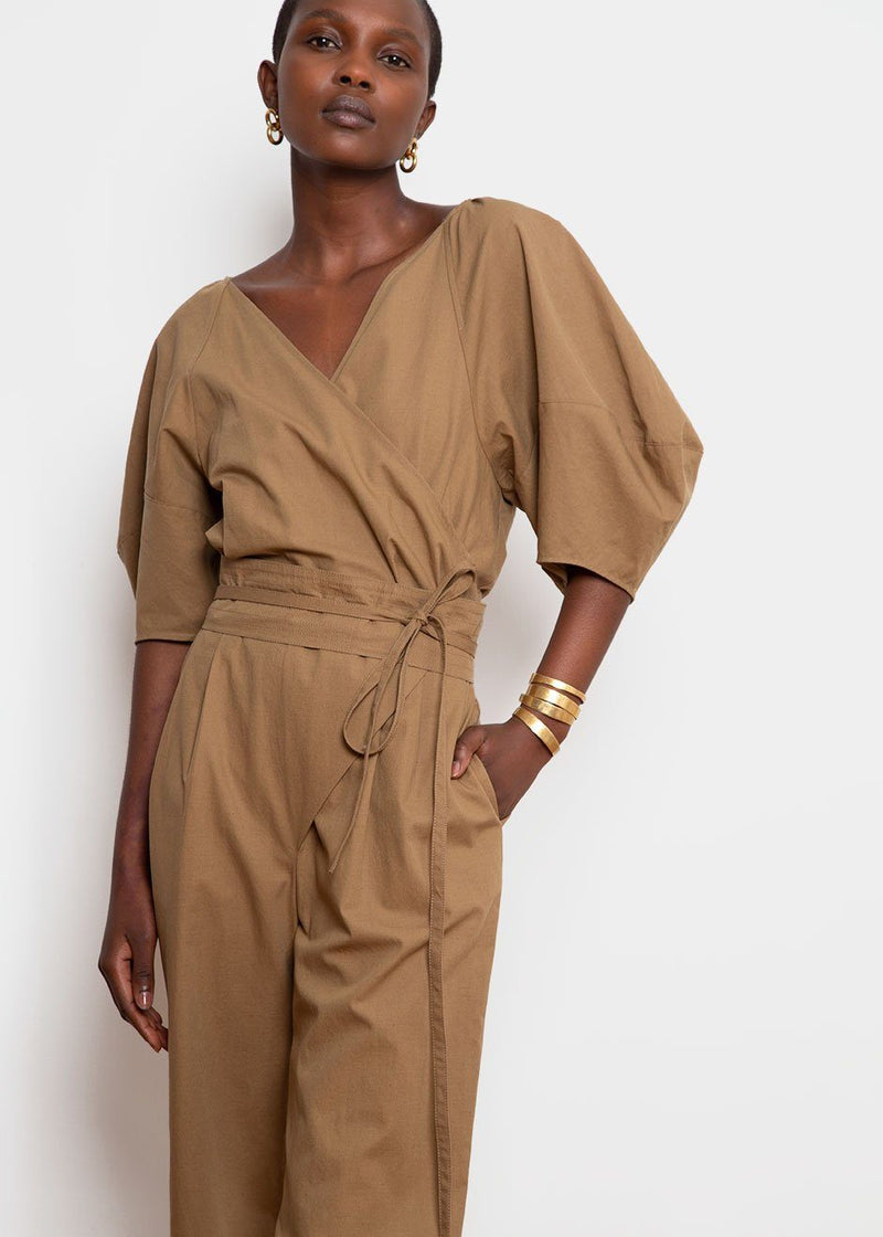 Wrap-Front Belted Jumpsuit - Khaki Brown Jumpsuit Earl Grey People