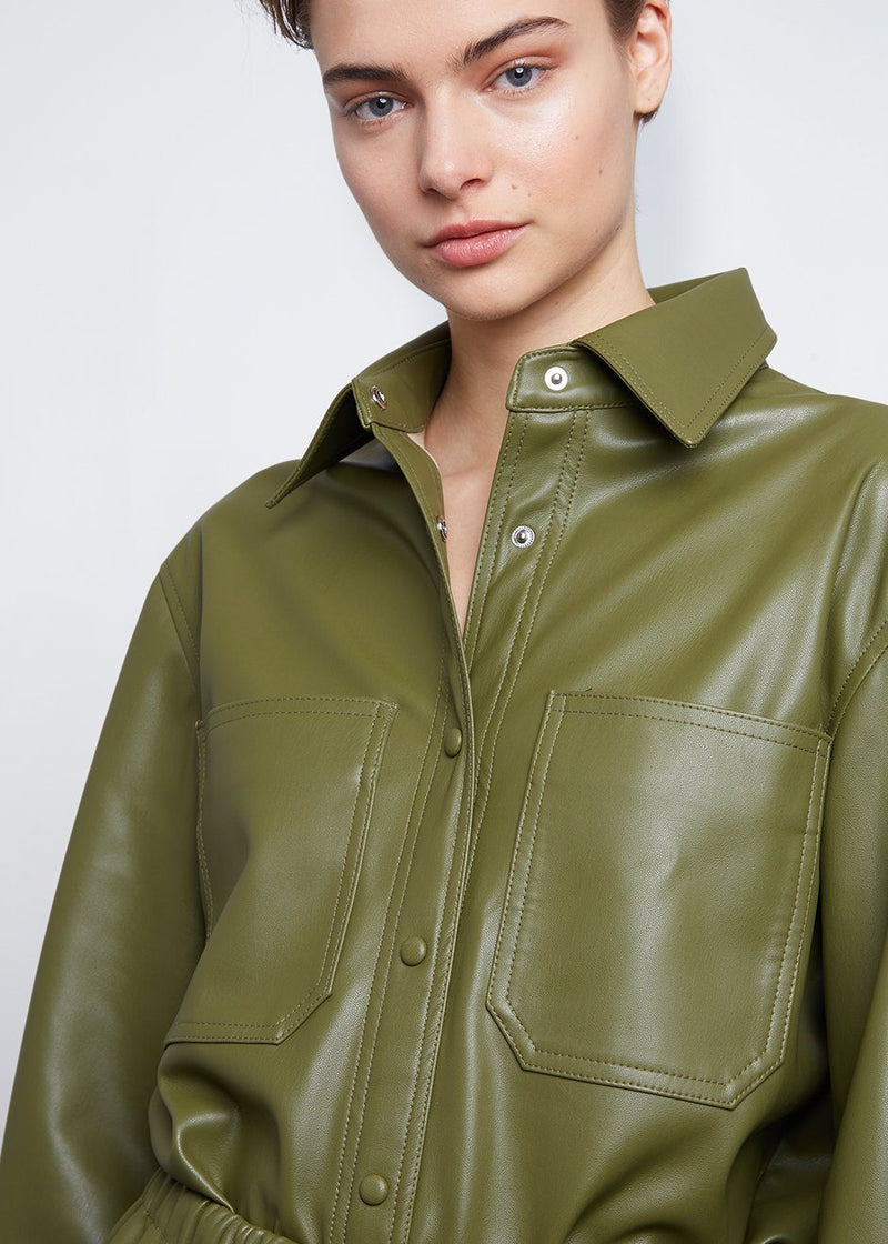Yoyo Leather Cargo Shirt in Green Shirt The Frankie Shop