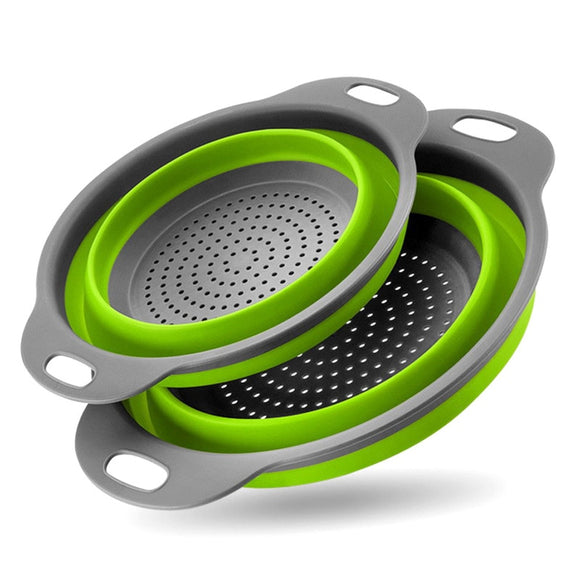 2 Pieces Collapsible Colanders Set Silicone