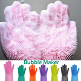 1-Pcs Silicone Dishes Washing Glove with Cleaning Brush