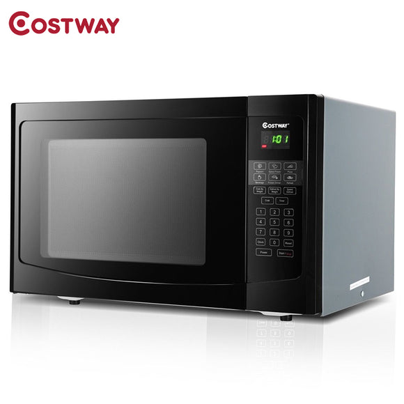 1.1 Cu Ft Programmable Microwave Oven 1000W LED Display 6 Quick Cook Settings Sensor