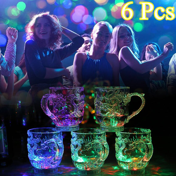 2019 6Pcs LED Flashing Color Change Water Activated Light Up Dragon Mug