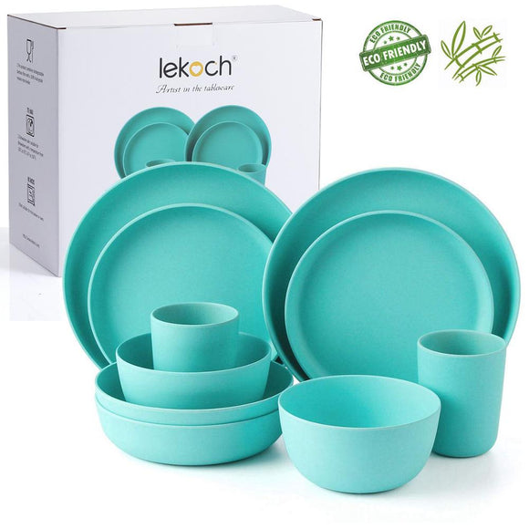 lekoch European tableware 10PCS blue Bamboo fiber Household Dishware Set salad Soup bowl Steak plate