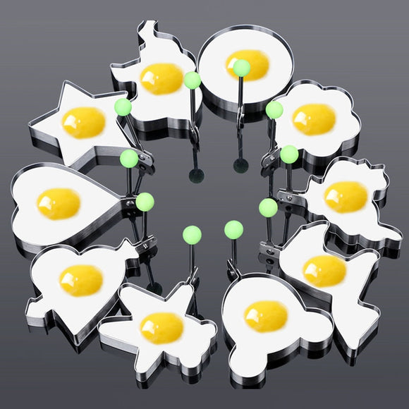 10Pcs/set Stainless Steel Fried Egg Pancake Shaper Omelette Mold
