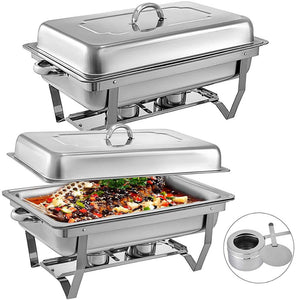Chafing Dish 2 Packs 8 Quart Stainless Steel Set with Folding Frame
