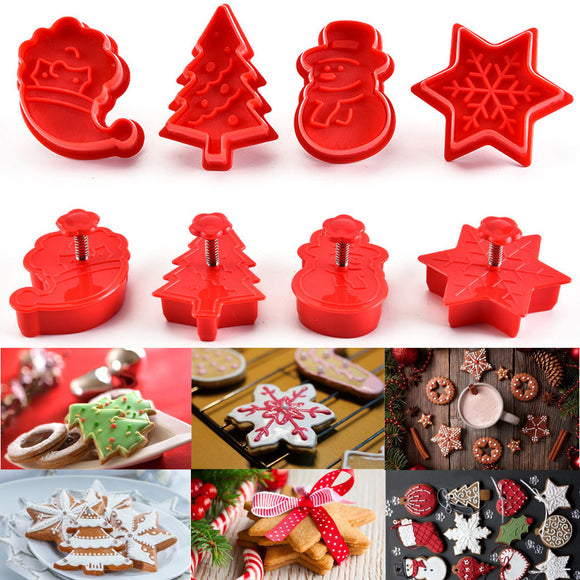 4Pcs Plastic Baking Molds Christmas Cookie Cutter