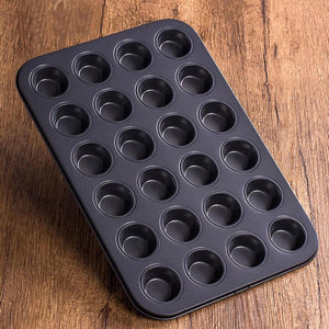 24 Cups Mini Non-Stick Cupcake Mold Baking Pan Premium Carbon Steel