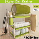 3 Tiers Dish Drying Rack Storage Shelf Kitchen Washing Holder Basket Plated Iron