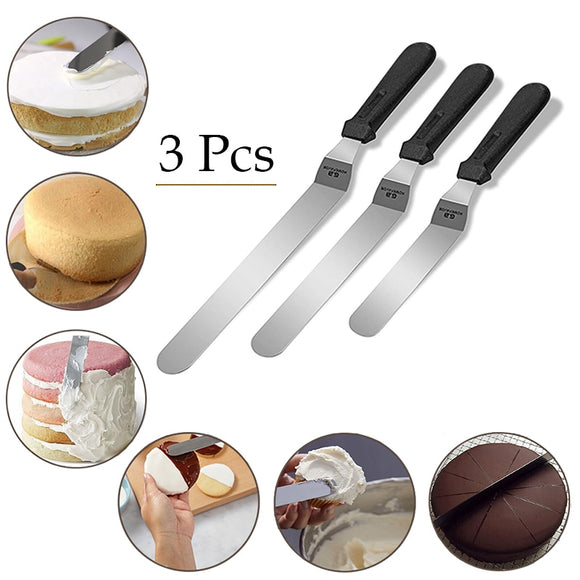 Spatulas 3 Pcs Stainless Steel Angled Icing Spatula Set
