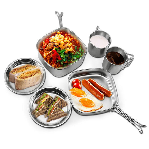6Pcs Stainless Steel Camping Pot Pan Set Outdoor