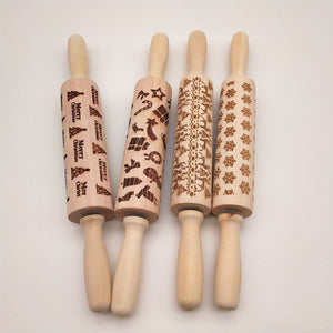 Christmas Print Wooden Rolling Pin