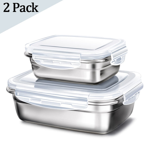 2 Pcs Lunch Box Stainless Steel Storage Box