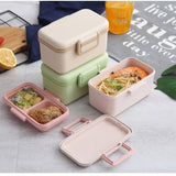Green Bamboo Fiber Children's Lunch Box Sealed Box