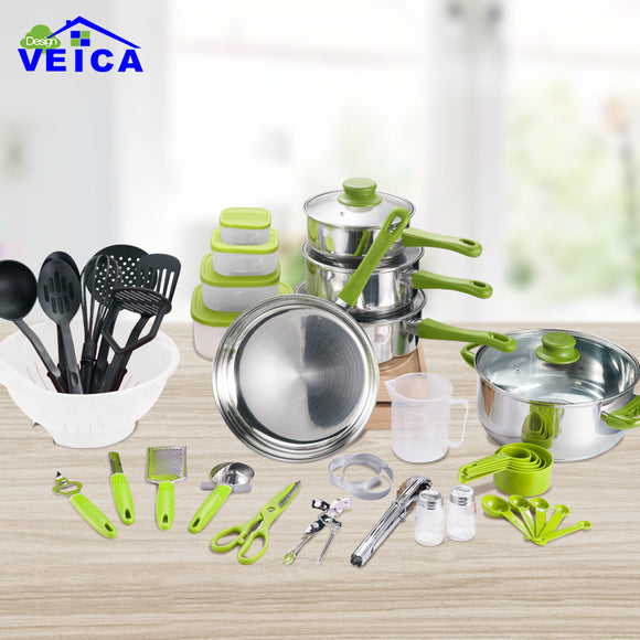 45 Piece Cookware Cooking Pots And Pans Set Kitchen Starter Combo Utensil Green