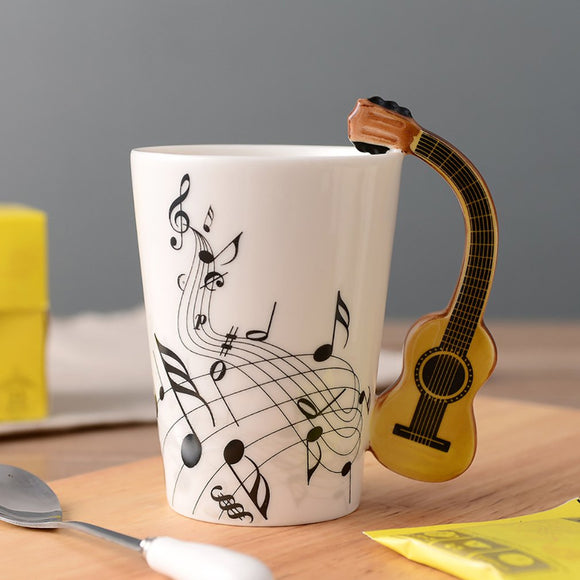 Guitar Ceramic Mug Cup Personality Music Notes