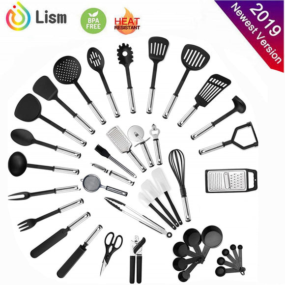 40-Piece Cooking Utensils Nylon and Stainless Steel Non-stick Spatula Set