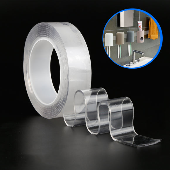 Durable Reusable Double-Sided Adhesive Transparent Nano Tape