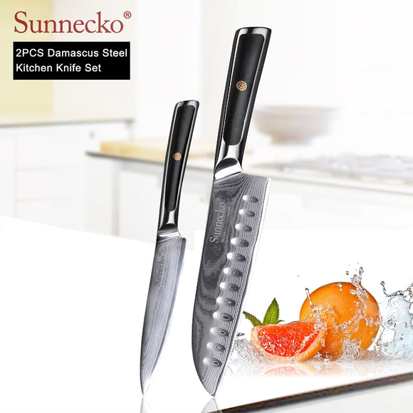 SUNNECKO Premium Santoku Damascus Japanese Steel Blade 2PCS Kitchen Knives Set