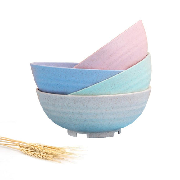 Wheat Straw Plastic Cereal Bowls Reusable-Unbreakable/Eco Friendly-Dishwasher & Microwave Safe