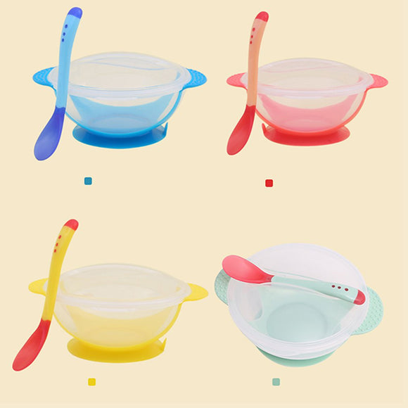 Temperature Sensing Feeding Spoon Child  Food Bowl Learning Suction Cup Baby