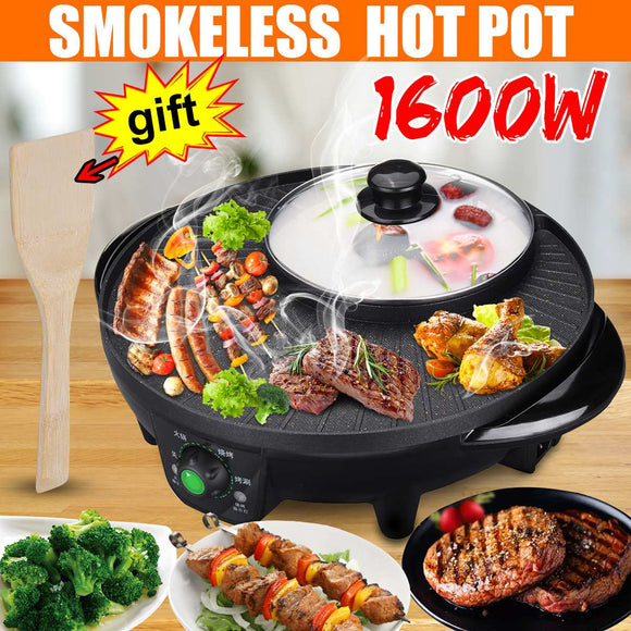 2 in 1, 110v 1600W Indoor/ Outdoor Electric BBQ Grills Smokeless Nonstick