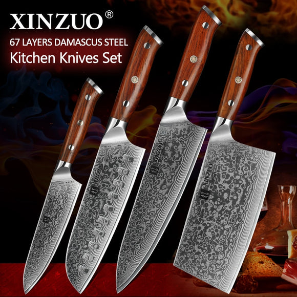 XINZUO 4PCS Kitchen Knife Set Stainless Steel Rosewood Handle