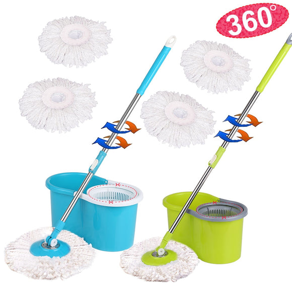 360 Rolling Stainless Steel Magic Spin Mop & Bucket Set Rotating  W/ 2 Microfiber Mop Heads