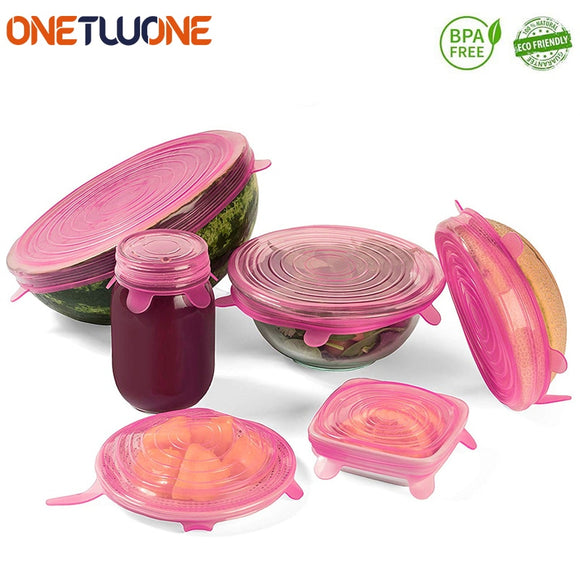 6 Pcs Silicone Stretch Lids Reusable Airtight Covers