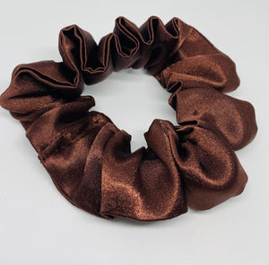 Brown Satin Scrunchie