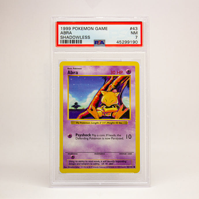 1999 POKEMON GAME ABRA SHADOWLESS - POP KULCHA COLLECT - Graded cards, sealed products, toys and video games