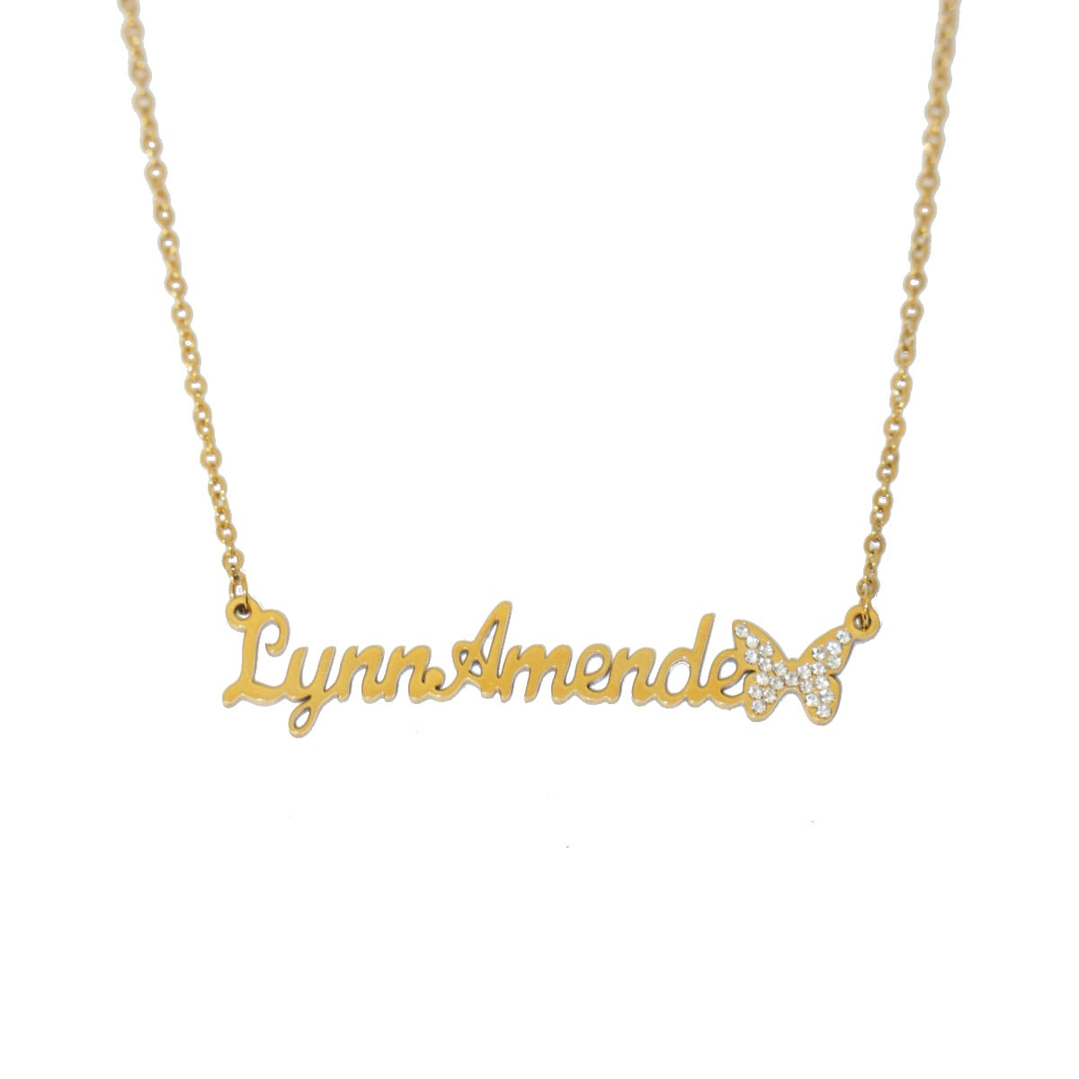Customized Single butterfly cursive font name necklace