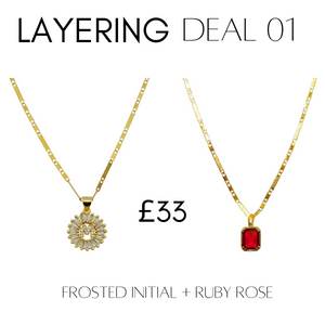 Layering deal #1 Frosted Initial + Ruby Rose