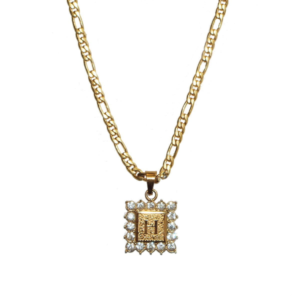 Square cz initial necklace