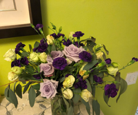 Lavender Roses, light  green Lisianthus  accent with purple carnation and greenery.