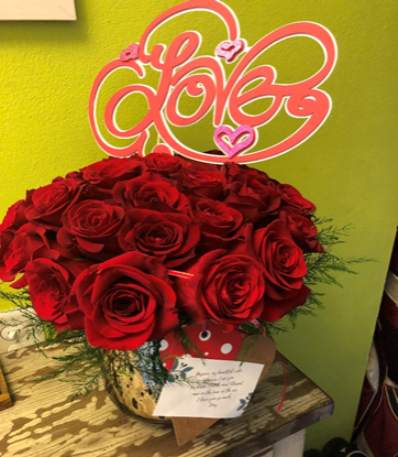30 Red Roses in a gold vase.
