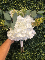 White Hydrangea , Silver dollar and Gold Wax Flower