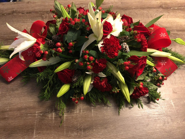 Red Roses, Red Carnations, White Lilies, Red Brunnia