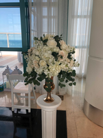 White Hydrangeas, White Roses, Srapy Roses , Silver dollar with a gold vase