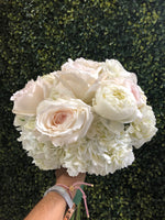 White Hydrangea with white garden Roses