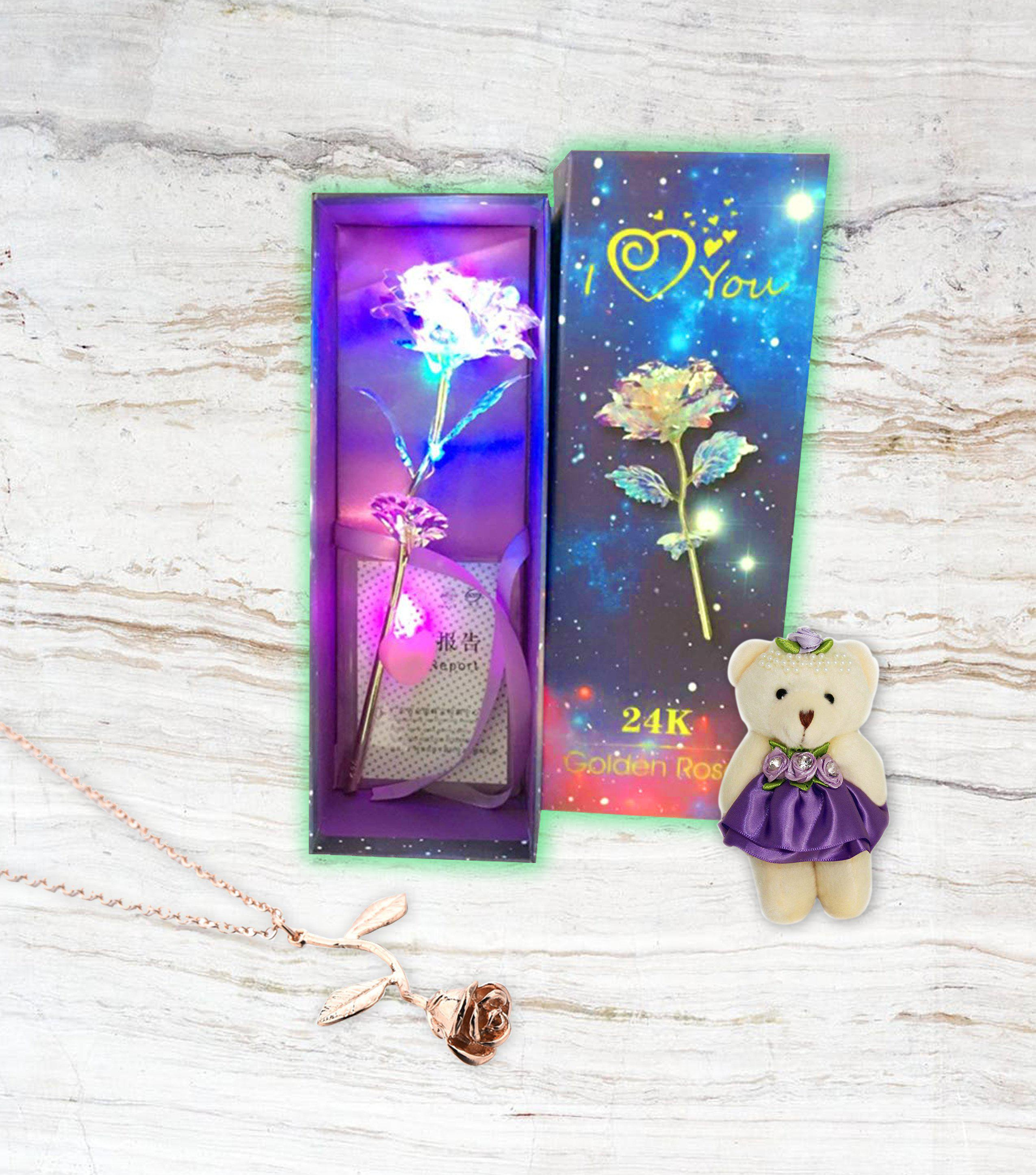 MyGiftsmate galaxy crystal rose flower 24k infinity eternity handmade led flower roses light bear lovers birthday cute jewelry gift women girls 24k unique gifts valentine girl her wife anniversary engagement love - MyGiftsMate