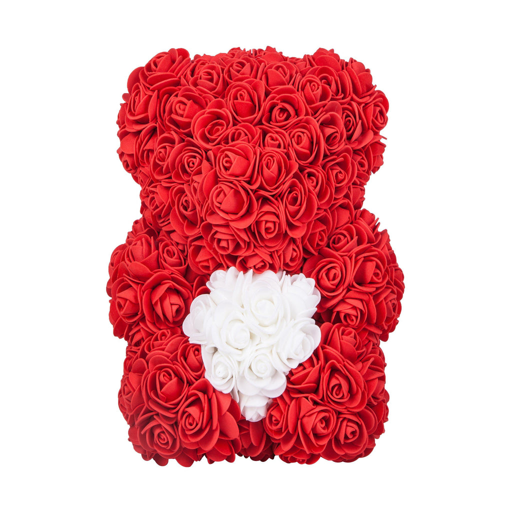 Rose Bear - Valentine's Mother's Day Anniversary Wedding Best Perfect Unique Heart Thank You Teddy Gift Ideas for Lovers Mom Women Men Wife Husband Him Her Son Daughter Birthday 25cm Red Handmade - MyGiftsMate